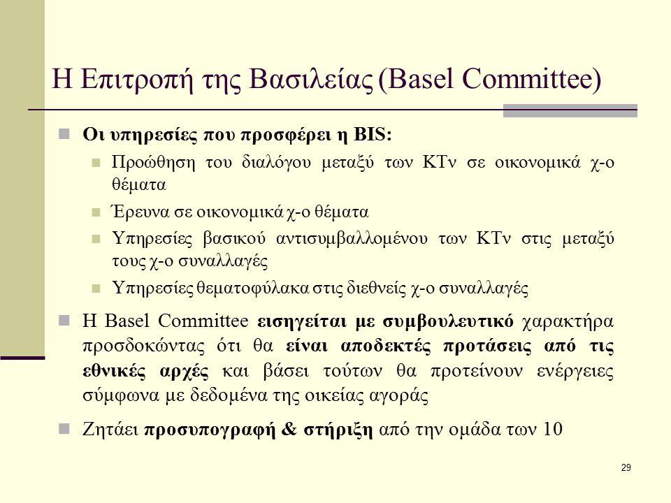 29 Η Επιτροπή της Βασιλείας (Basel Committee) Οι υπηρεσίες που προσφέρει η BIS: Προώθηση του διαλόγου μεταξύ των ΚΤν σε οικονομικά χ-ο θέματα Έρευνα σ
