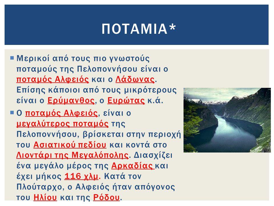  Μερικοί από τους πιο γνωστούς ποταμούς της Πελοποννήσου είναι ο ποταμός Αλφειός και ο Λάδωνας.