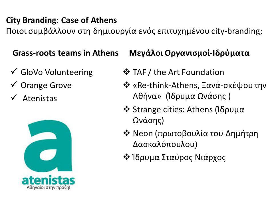 City Branding: Case of Athens Ποιοι συμβάλλουν στη δημιουργία ενός επιτυχημένου city-branding; Grass-roots teams in Athens GloVo Volunteering Orange G
