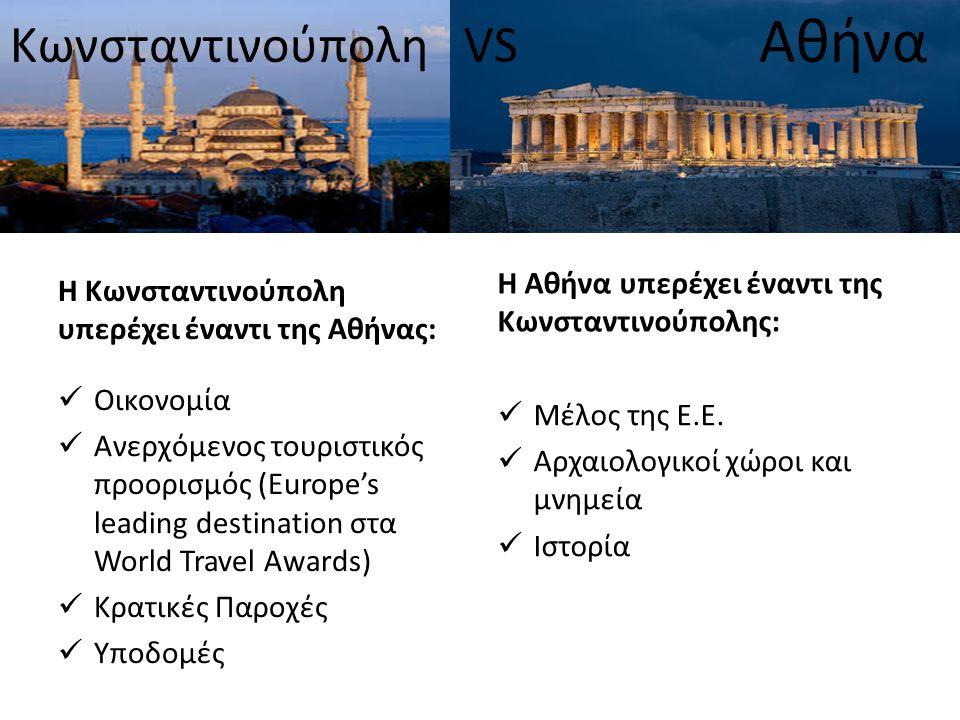 Κωνσταντινούπολη VS Αθήνα Η Κωνσταντινούπολη υπερέχει έναντι της Αθήνας: Oικονομία Ανερχόμενος τουριστικός προορισμός (Europe's leading destination στ