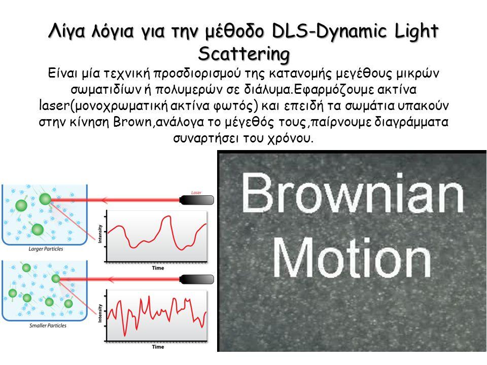 Λίγα λόγια για την μέθοδο DLS-Dynamic Light Scattering Λίγα λόγια για την μέθοδο DLS-Dynamic Light Scattering Είναι μία τεχνική προσδιορισμού της κατανομής μεγέθους μικρών σωματιδίων ή πολυμερών σε διάλυμα.Εφαρμόζουμε ακτίνα laser(μονοχρωματική ακτίνα φωτός) και επειδή τα σωμάτια υπακούν στην κίνηση Brown,ανάλογα το μέγεθός τους,παίρνουμε διαγράμματα συναρτήσει του χρόνου.