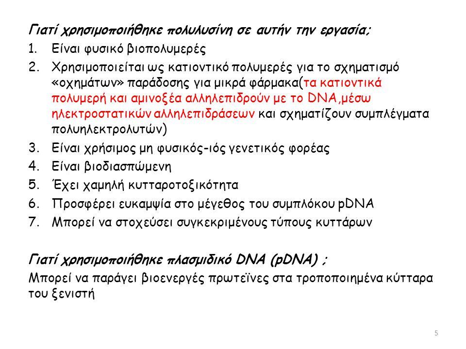 Γιατί χρησιμοποιήθηκε πολυλυσίνη σε αυτήν την εργασία; 1.Είναι φυσικό βιοπολυμερές 2.Χρησιμοποιείται ως κατιοντικό πολυμερές για το σχηματισμό «οχημάτων» παράδοσης για μικρά φάρμακα(τα κατιοντικά πολυμερή και αμινοξέα αλληλεπιδρούν με το DNA,μέσω ηλεκτροστατικών αλληλεπιδράσεων και σχηματίζουν συμπλέγματα πολυηλεκτρολυτών) 3.Είναι χρήσιμος μη φυσικός-ιός γενετικός φορέας 4.Είναι βιοδιασπώμενη 5.Έχει χαμηλή κυτταροτοξικότητα 6.Προσφέρει ευκαμψία στο μέγεθος του συμπλόκου pDNA 7.Μπορεί να στοχεύσει συγκεκριμένους τύπους κυττάρων Γιατί χρησιμοποιήθηκε πλασμιδικό DNA (pDNA) ; Μπορεί να παράγει βιοενεργές πρωτεϊνες στα τροποποιημένα κύτταρα του ξενιστή 5