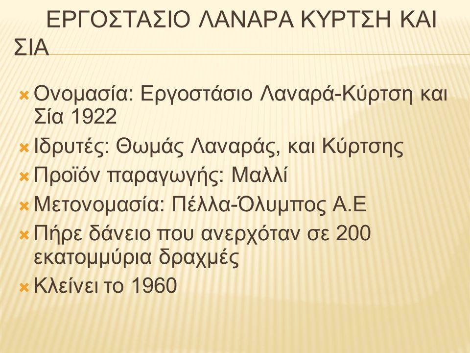 ΕΡΓΟΣΤΑΣΙΟ ΛΑΝΑΡΑ ΚΥΡΤΣΗ ΚΑΙ ΣΙΑ  Ονομασία: Εργοστάσιο Λαναρά-Κύρτση και Σία 1922  Ιδρυτές: Θωμάς Λαναράς, και Κύρτσης  Προϊόν παραγωγής: Μαλλί  Μ