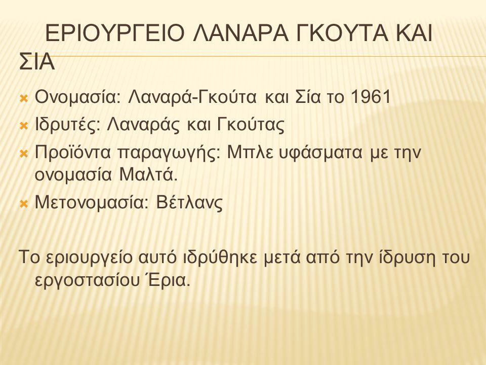 ΕΡΙΟΥΡΓΕΙΟ ΛΑΝΑΡΑ ΓΚΟΥΤΑ ΚΑΙ ΣΙΑ  Ονομασία: Λαναρά-Γκούτα και Σία το 1961  Ιδρυτές: Λαναράς και Γκούτας  Προϊόντα παραγωγής: Μπλε υφάσματα με την ο