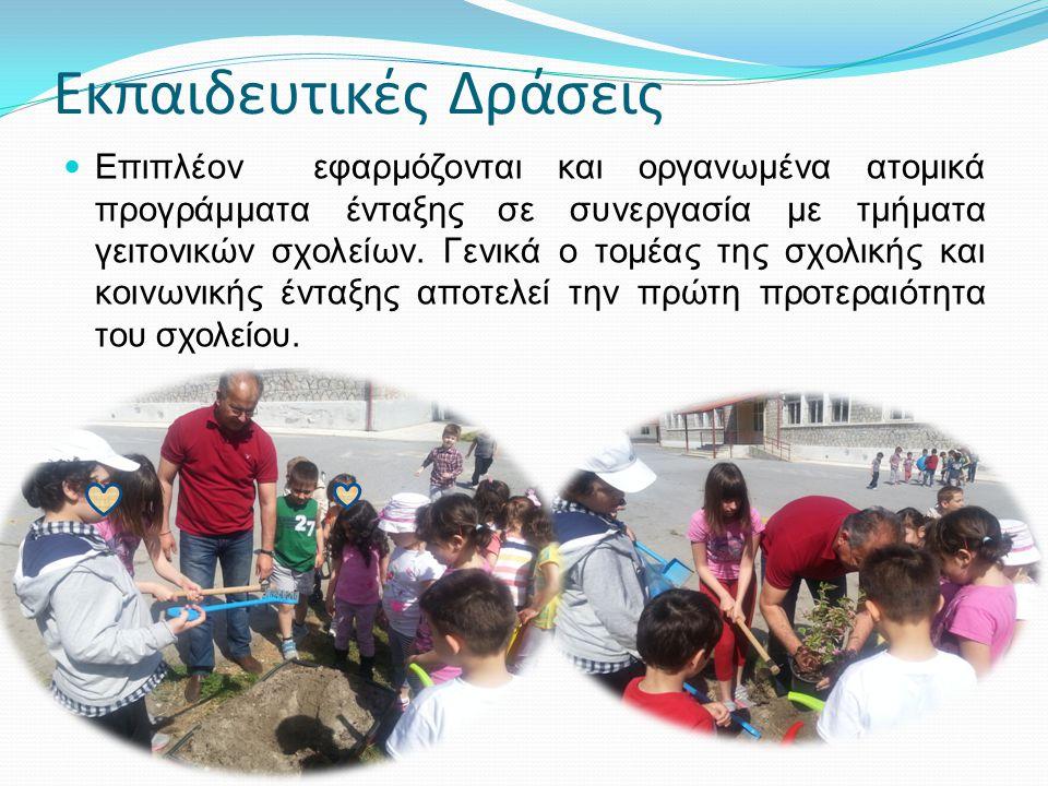 Εκπαιδευτικές Δράσεις Επιπλέον εφαρμόζονται και οργανωμένα ατομικά προγράμματα ένταξης σε συνεργασία με τμήματα γειτονικών σχολείων.