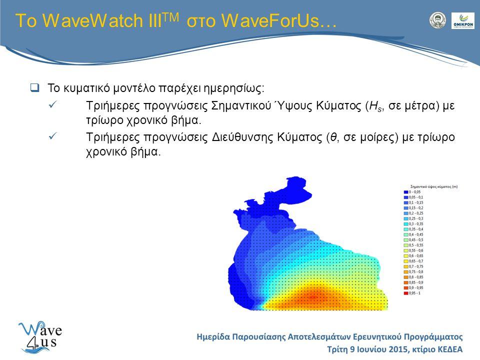 To WaveWatch III TM στο WaveForUs…  Το κυματικό μοντέλο παρέχει ημερησίως: Τριήμερες προγνώσεις Σημαντικού Ύψους Κύματος (H s, σε μέτρα) με τρίωρο χρ
