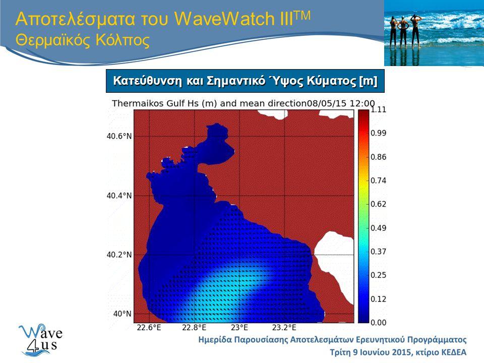 Αποτελέσματα του WaveWatch III TM Θερμαϊκός Κόλπος Κατεύθυνση και Σημαντικό Ύψος Κύματος [m]