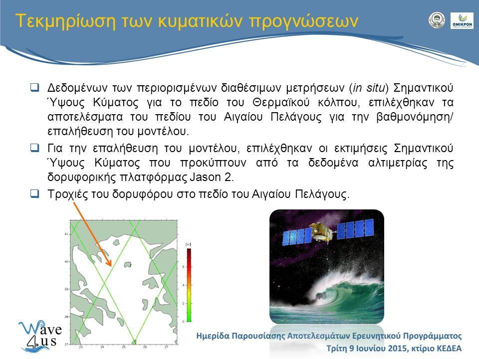 Τεκμηρίωση των κυματικών προγνώσεων  Δεδομένων των περιορισμένων διαθέσιμων μετρήσεων (in situ) Σημαντικού Ύψους Κύματος για το πεδίο του Θερμαϊκού κ
