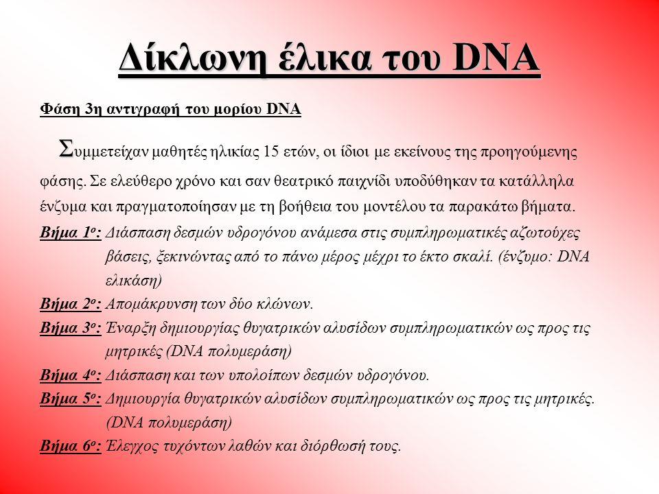Φάση 3η αντιγραφή του μορίου DNA Σ Σ υμμετείχαν μαθητές ηλικίας 15 ετών, οι ίδιοι με εκείνους της προηγούμενης φάσης. Σε ελεύθερο χρόνο και σαν θεατρι