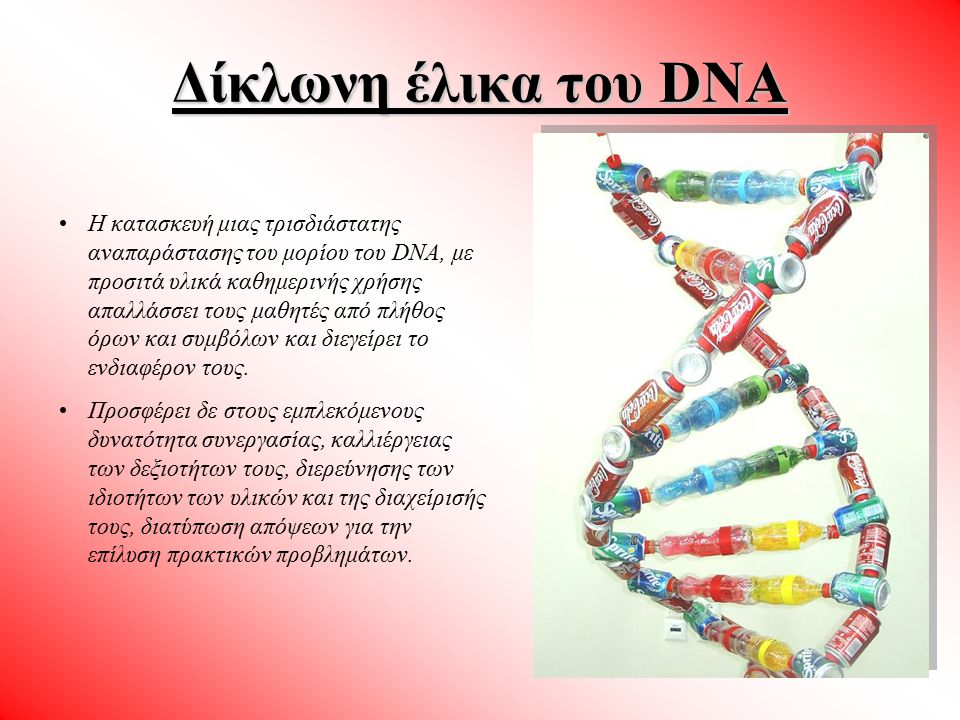 Δίκλωνη έλικα του DNA Η αναγνώριση των βασικών δομικών στοιχείων από τα οποία αποτελείται το μόριο του DNA.