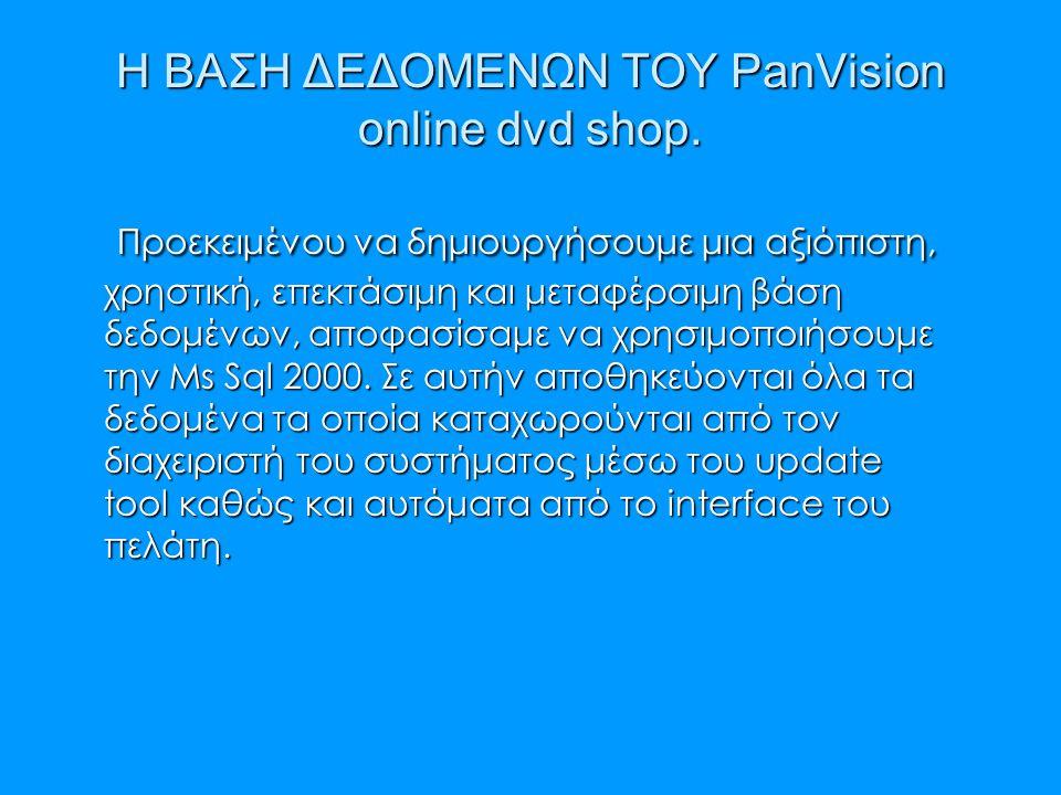 Η ΒΑΣΗ ΔΕΔΟΜΕΝΩΝ ΤΟΥ PanVision online dvd shop. Προεκειμένου να δημιουργήσουμε μια αξιόπιστη, χρηστική, επεκτάσιμη και μεταφέρσιμη βάση δεδομένων, απο