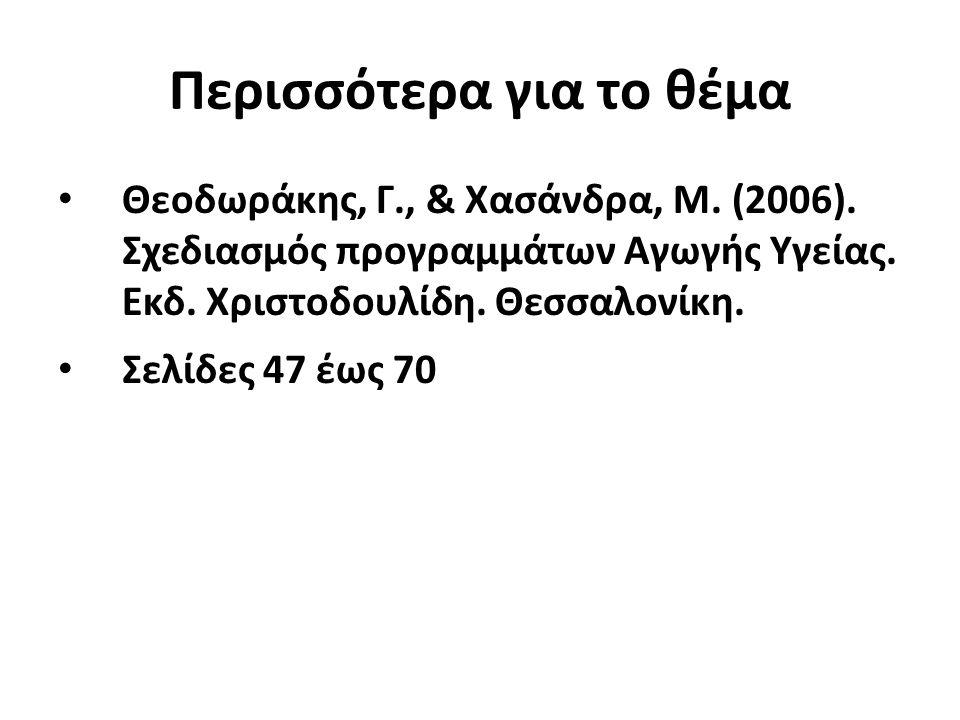 Περισσότερα για το θέμα Θεοδωράκης, Γ., & Χασάνδρα, Μ. (2006). Σχεδιασμός προγραμμάτων Αγωγής Υγείας. Εκδ. Χριστοδουλίδη. Θεσσαλονίκη. Σελίδες 47 έως
