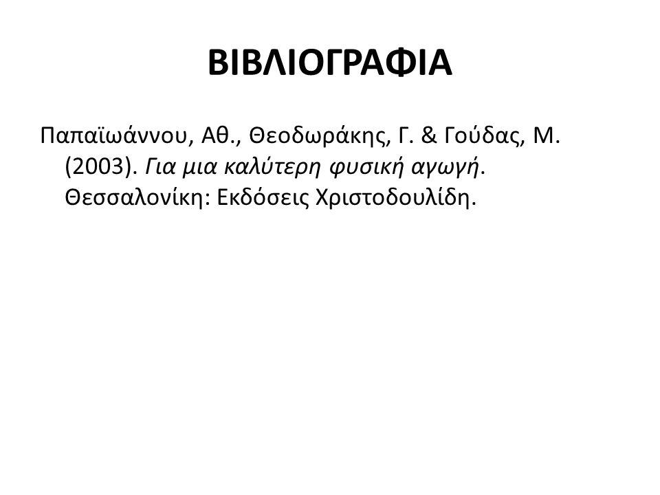 ΒΙΒΛΙΟΓΡΑΦΙΑ Παπαϊωάννου, Αθ., Θεοδωράκης, Γ. & Γούδας, Μ. (2003). Για μια καλύτερη φυσική αγωγή. Θεσσαλονίκη: Εκδόσεις Χριστοδουλίδη.