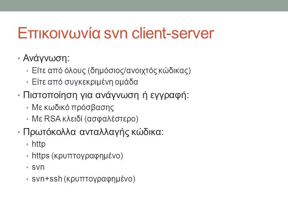 Επικοινωνία svn client-server Ανάγνωση: Είτε από όλους (δημόσιος/ανοιχτός κώδικας) Είτε από συγκεκριμένη ομάδα Πιστοποίηση για ανάγνωση ή εγγραφή: Με κωδικό πρόσβασης Με RSA κλειδί (ασφαλέστερο) Πρωτόκολλα ανταλλαγής κώδικα: http https (κρυπτογραφημένο) svn svn+ssh (κρυπτογραφημένο)