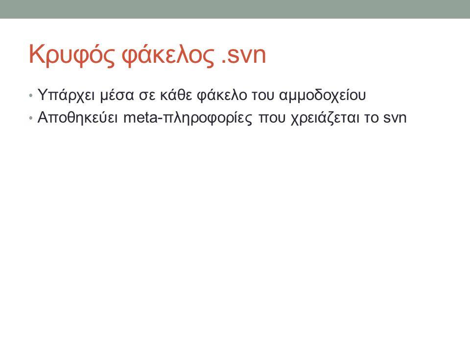 Κρυφός φάκελος.svn Υπάρχει μέσα σε κάθε φάκελο του αμμοδοχείου Αποθηκεύει meta-πληροφορίες που χρειάζεται το svn