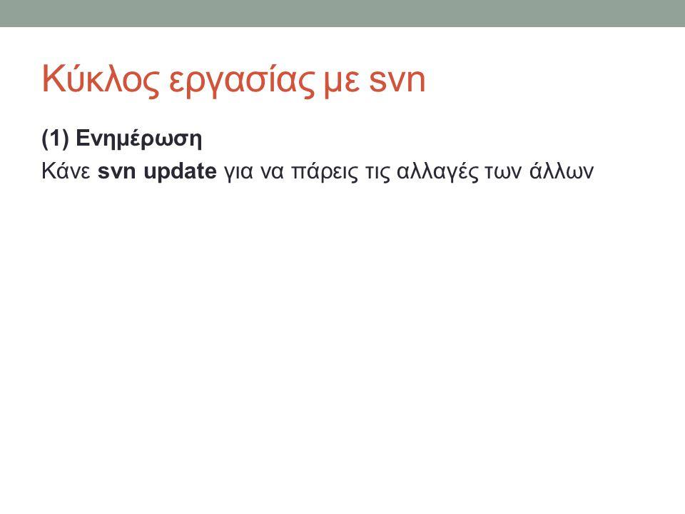 Κύκλος εργασίας με svn (1) Ενημέρωση Κάνε svn update για να πάρεις τις αλλαγές των άλλων