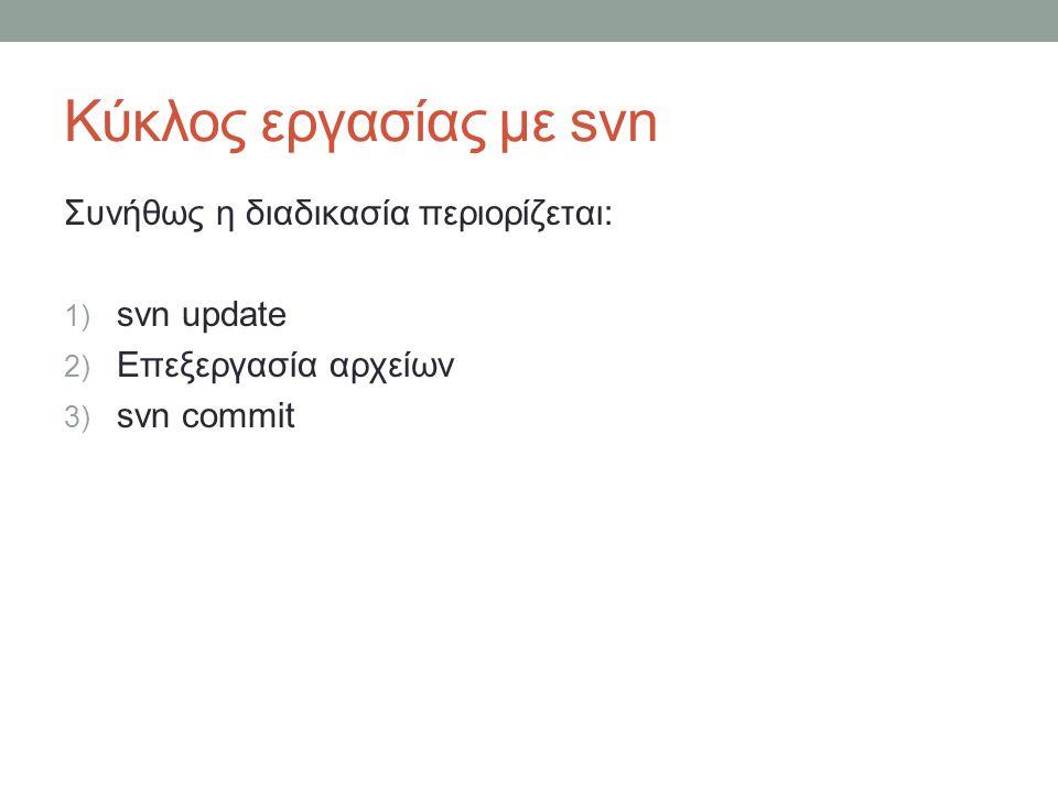 Κύκλος εργασίας με svn Συνήθως η διαδικασία περιορίζεται: 1) svn update 2) Επεξεργασία αρχείων 3) svn commit