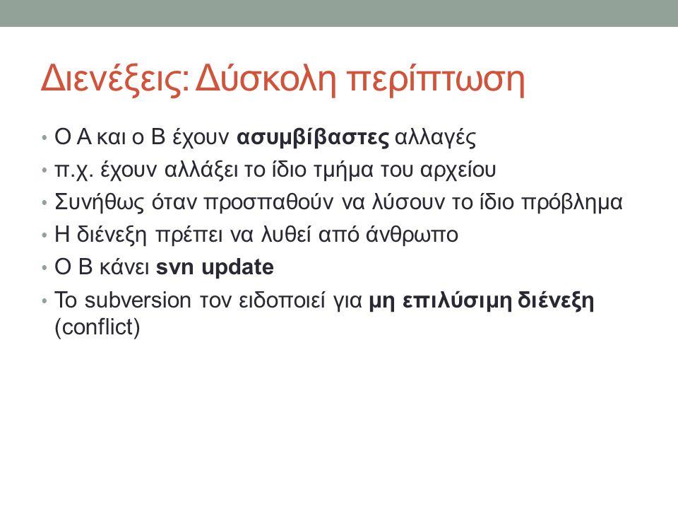 Διενέξεις: Δύσκολη περίπτωση Ο Α και ο Β έχουν ασυμβίβαστες αλλαγές π.χ. έχουν αλλάξει το ίδιο τμήμα του αρχείου Συνήθως όταν προσπαθούν να λύσουν το