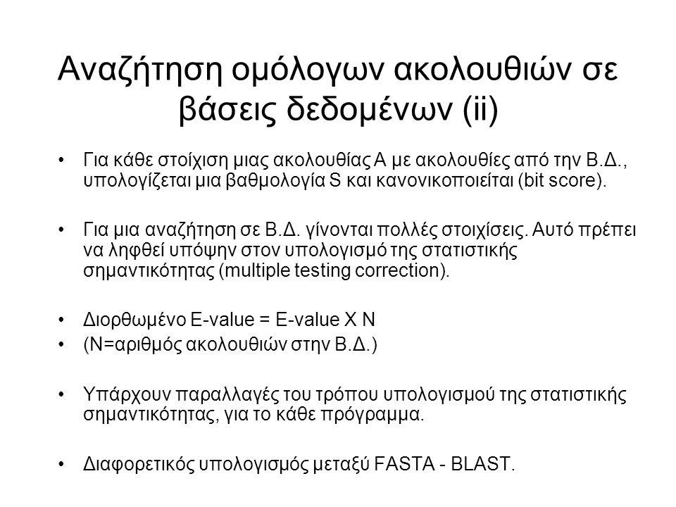 Αναζήτηση ομόλογων ακολουθιών σε βάσεις δεδομένων (ii) Για κάθε στοίχιση μιας ακολουθίας Α με ακολουθίες από την Β.Δ., υπολογίζεται μια βαθμολογία S κ