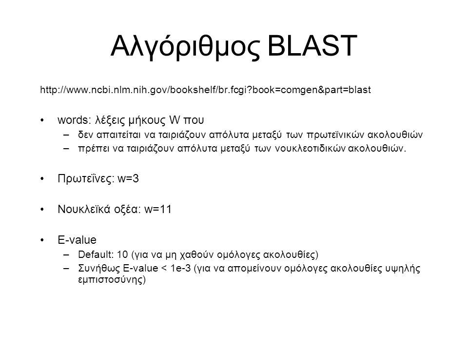 Αλγόριθμος BLAST http://www.ncbi.nlm.nih.gov/bookshelf/br.fcgi?book=comgen&part=blast words: λέξεις μήκους W που –δεν απαιτείται να ταιριάζουν απόλυτα