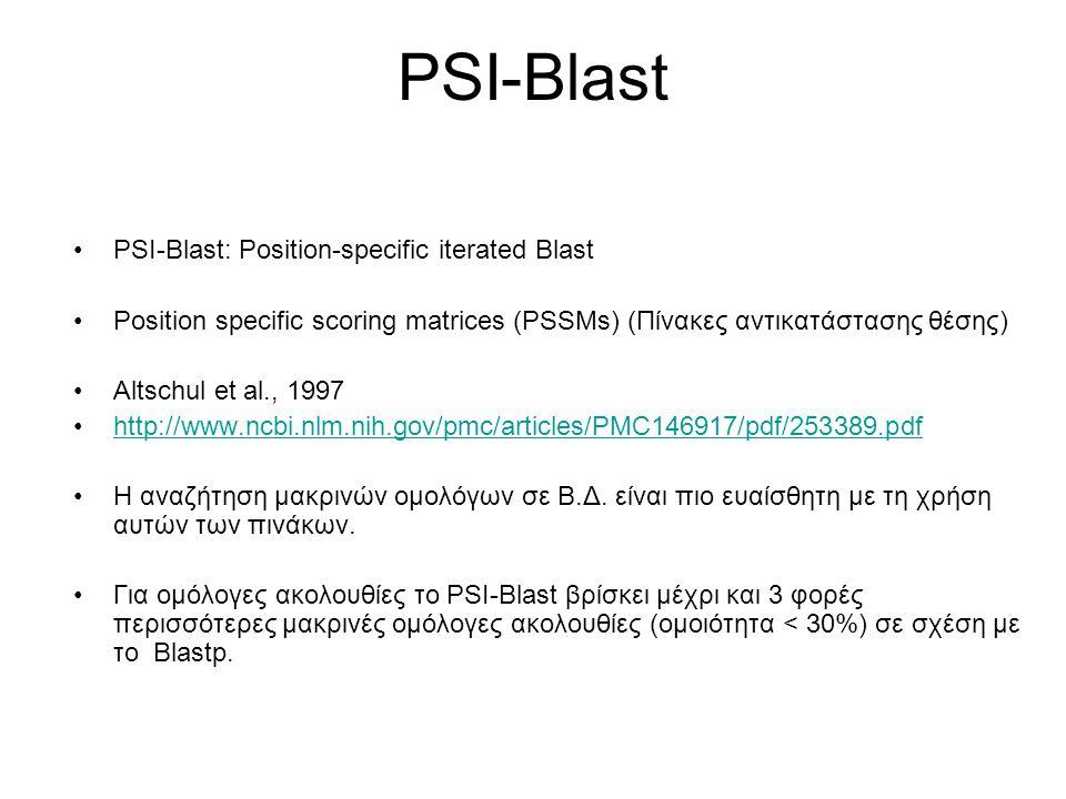 PSI-Blast Σε μια ακολουθία οι διάφορες θέσεις δεν είναι το ίδιο συντηρημένες/ευέλικτες λόγω δομικών/λειτουργικών περιορισμών.