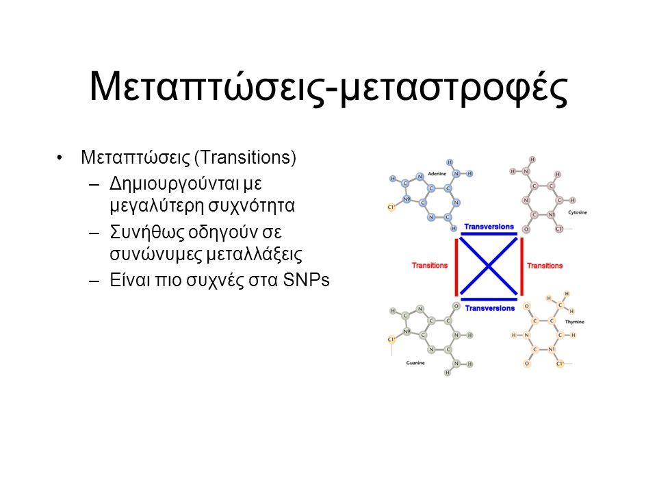 Μεταπτώσεις-μεταστροφές Μεταπτώσεις (Transitions) –Δημιουργούνται με μεγαλύτερη συχνότητα –Συνήθως οδηγούν σε συνώνυμες μεταλλάξεις –Eίναι πιο συχνές