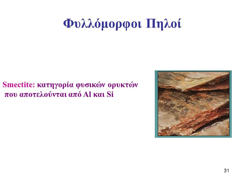 31 Φυλλόμορφοι Πηλοί Smectite: κατηγορία φυσικών ορυκτών που αποτελούνται από Al και Si