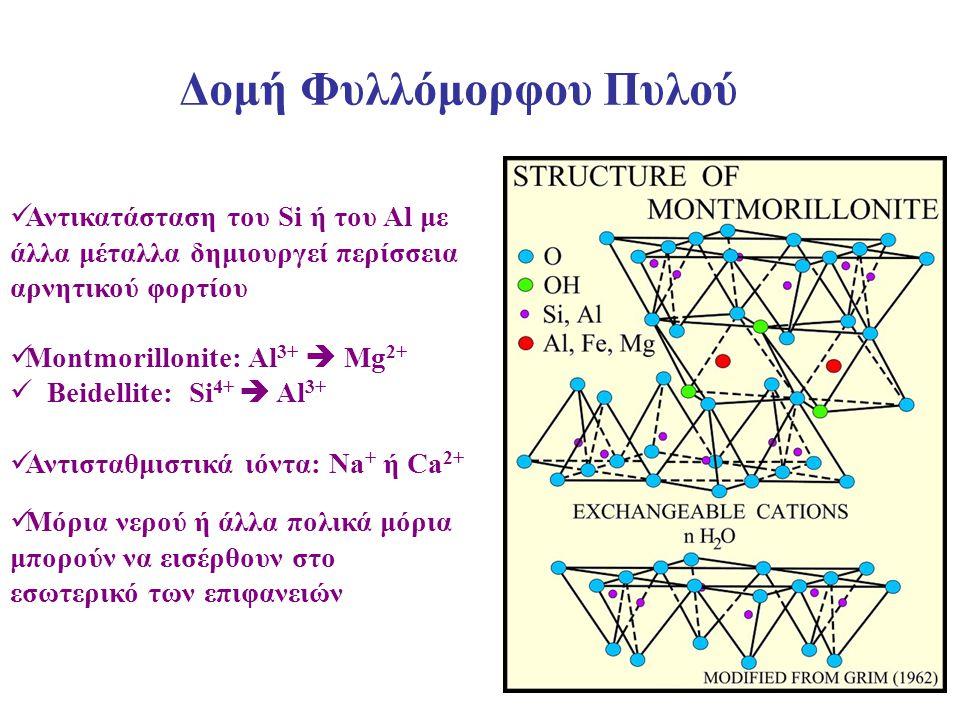 33 Αντικατάσταση του Si ή του Al με άλλα μέταλλα δημιουργεί περίσσεια αρνητικού φορτίου Montmorillonite: Al 3+  Mg 2+ Beidellite: Si 4+  Al 3+ Αντισ