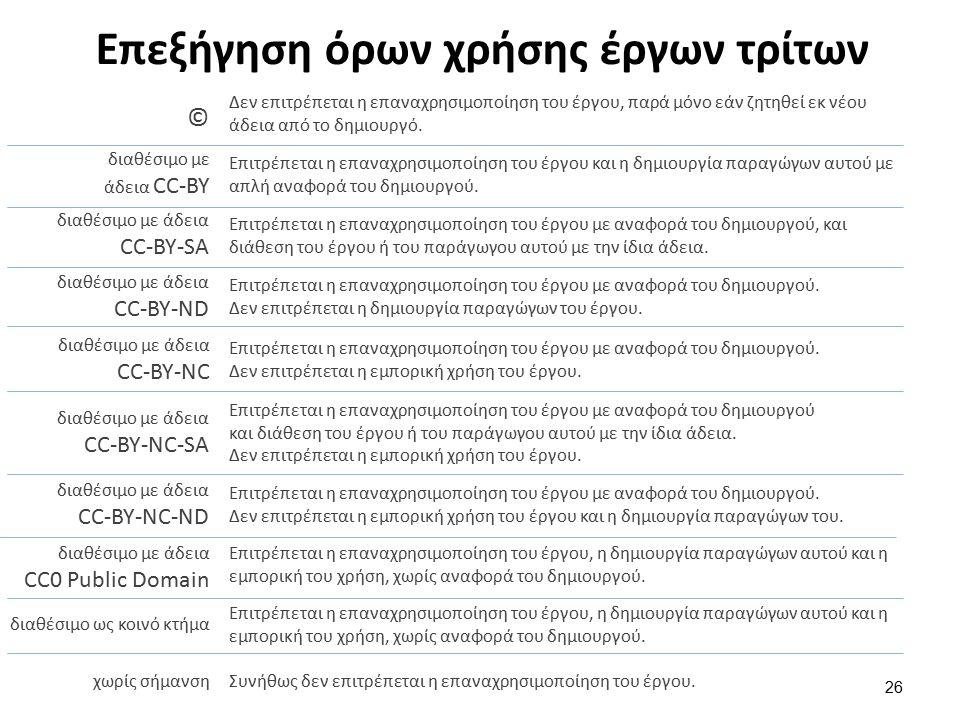 Επεξήγηση όρων χρήσης έργων τρίτων 26 Δεν επιτρέπεται η επαναχρησιμοποίηση του έργου, παρά μόνο εάν ζητηθεί εκ νέου άδεια από το δημιουργό. © διαθέσιμ