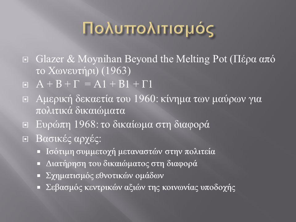  Glazer & Moynihan Beyond the Melting Pot ( Πέρα από το Χωνευτήρι ) (1963)  A + B + Γ = A1 + B1 + Γ 1  Αμερική δεκαετία του 1960: κίνημα των μαύρων