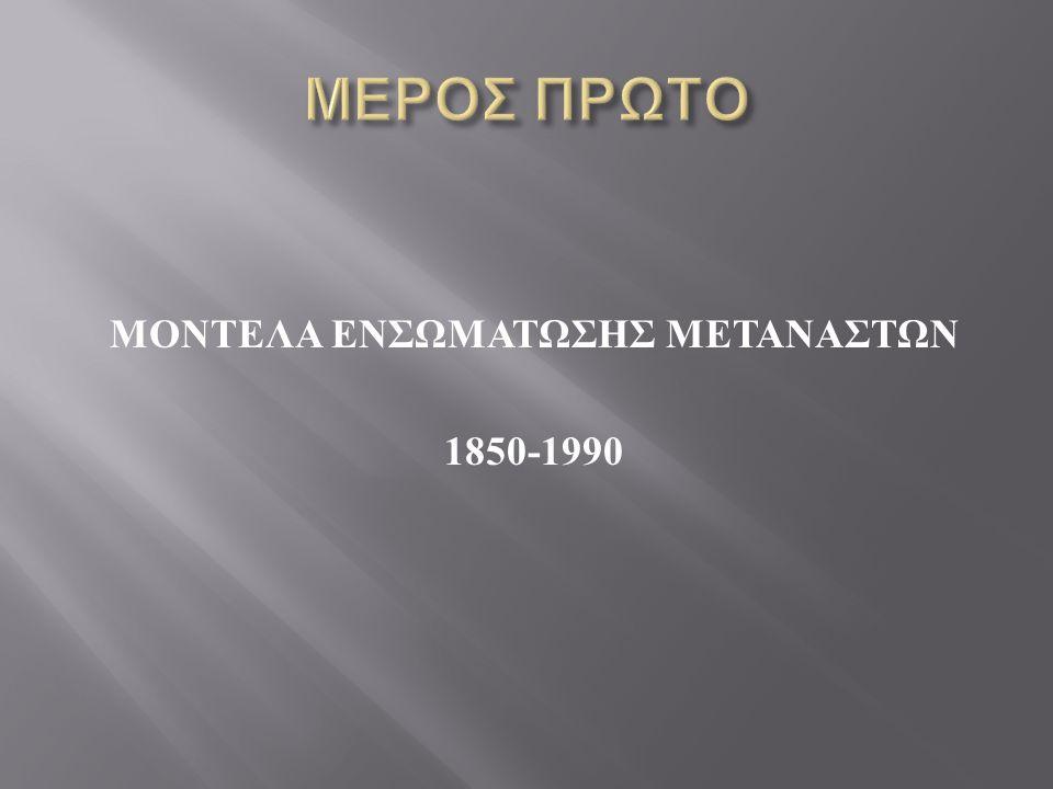  5 μοντέλα  Αφομοίωση (assimilation) ( ΗΠΑ, Γαλλία )  Χωνευτήρι (melting pot) ( ΗΠΑ )  Μερικός αποκλεισμός (partial exclusion) ( Γερμανία Δ.
