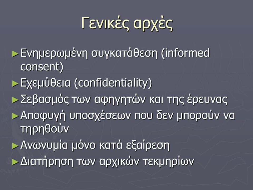Γενικές αρχές ► Ενημερωμένη συγκατάθεση (informed consent) ► Εχεμύθεια (confidentiality) ► Σεβασμός των αφηγητών και της έρευνας ► Αποφυγή υποσχέσεων που δεν μπορούν να τηρηθούν ► Ανωνυμία μόνο κατά εξαίρεση ► Διατήρηση των αρχικών τεκμηρίων