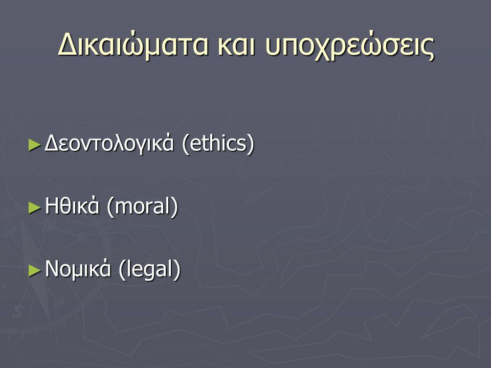 Δικαιώματα και υποχρεώσεις ► Δεοντολογικά (ethics) ► Ηθικά (moral) ► Νομικά (legal)