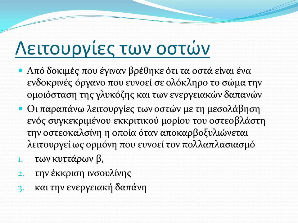 Η οστεοκαλσίνη ευνοεί την αντρική γονιμότητα με την ενίσχυση της παραγωγής τεστοστερόνης Στη συνέχεια προσπάθησαν να αποδείξουν αν η οστεοκαλσίνη που προέρχεται από τους οστεοβλάστες ενισχύει την έκκριση τεστοστερόνης από τα κύτταρα Leydig