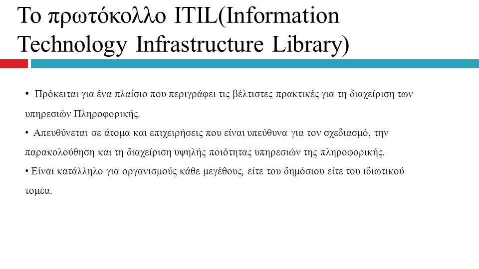 Το πρωτόκολλο ITIL(Information Technology Infrastructure Library) Πρόκειται για ένα πλαίσιο που περιγράφει τις βέλτιστες πρακτικές για τη διαχείριση τ