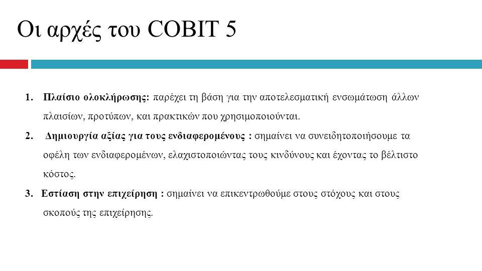 Οι αρχές του COBIT 5 1.Πλαίσιο ολοκλήρωσης: παρέχει τη βάση για την αποτελεσματική ενσωμάτωση άλλων πλαισίων, προτύπων, και πρακτικών που χρησιμοποιού