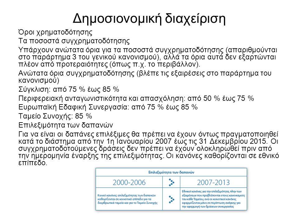 Δημοσιονομική διαχείριση Όροι χρηματοδότησης Τα ποσοστά συγχρηματοδότησης Υπάρχουν ανώτατα όρια για τα ποσοστά συγχρηματοδότησης (απαριθμούνται στο παράρτημα 3 του γενικού κανονισμού), αλλά τα όρια αυτά δεν εξαρτώνται πλέον από προτεραιότητες (όπως π.χ.