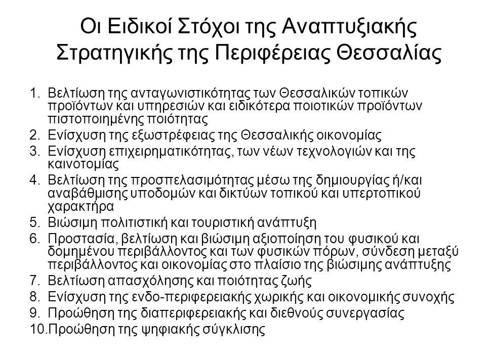Οι Ειδικοί Στόχοι της Αναπτυξιακής Στρατηγικής της Περιφέρειας Θεσσαλίας 1.Βελτίωση της ανταγωνιστικότητας των Θεσσαλικών τοπικών προϊόντων και υπηρεσιών και ειδικότερα ποιοτικών προϊόντων πιστοποιημένης ποιότητας 2.Ενίσχυση της εξωστρέφειας της Θεσσαλικής οικονομίας 3.Ενίσχυση επιχειρηματικότητας, των νέων τεχνολογιών και της καινοτομίας 4.Βελτίωση της προσπελασιμότητας μέσω της δημιουργίας ή/και αναβάθμισης υποδομών και δικτύων τοπικού και υπερτοπικού χαρακτήρα 5.Βιώσιμη πολιτιστική και τουριστική ανάπτυξη 6.Προστασία, βελτίωση και βιώσιμη αξιοποίηση του φυσικού και δομημένου περιβάλλοντος και των φυσικών πόρων, σύνδεση μεταξύ περιβάλλοντος και οικονομίας στο πλαίσιο της βιώσιμης ανάπτυξης 7.Βελτίωση απασχόλησης και ποιότητας ζωής 8.Ενίσχυση της ενδο-περιφερειακής χωρικής και οικονομικής συνοχής 9.Προώθηση της διαπεριφερειακής και διεθνούς συνεργασίας 10.Προώθηση της ψηφιακής σύγκλισης