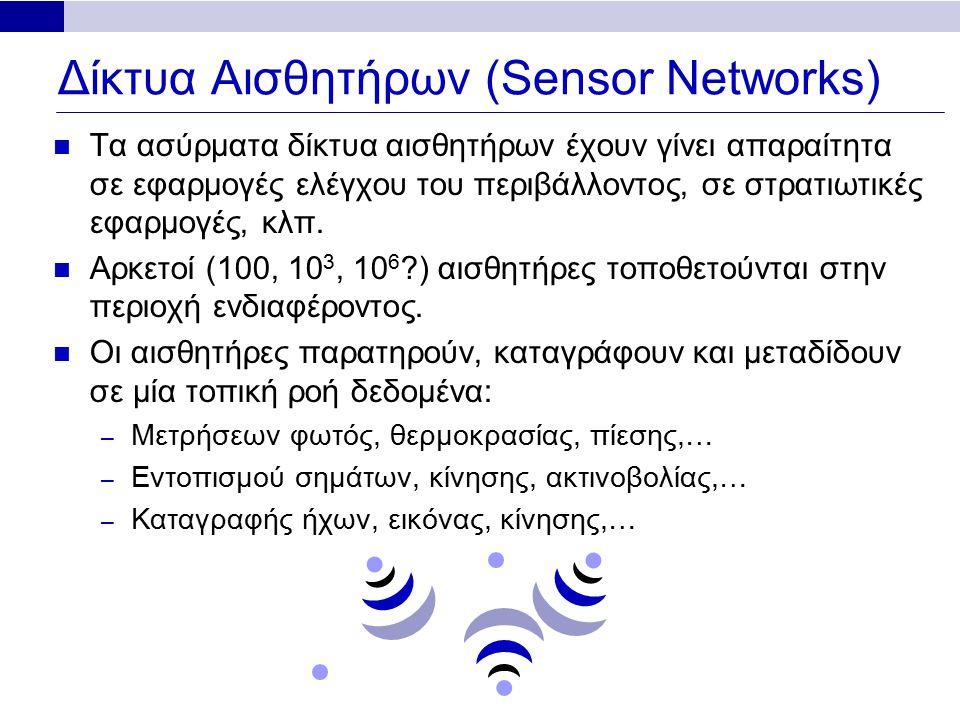 Δίκτυα Αισθητήρων (Sensor Networks) Τα ασύρματα δίκτυα αισθητήρων έχουν γίνει απαραίτητα σε εφαρμογές ελέγχου του περιβάλλοντος, σε στρατιωτικές εφαρμογές, κλπ.