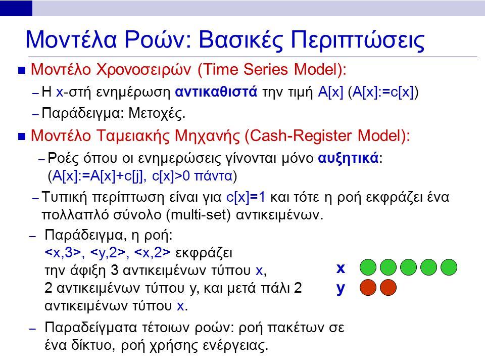 Μοντέλα Ροών: Βασικές Περιπτώσεις Μοντέλο Χρονοσειρών (Time Series Model): – Η x-στή ενημέρωση αντικαθιστά την τιμή A[x] (A[x]:=c[x]) – Παράδειγμα: Μετοχές.