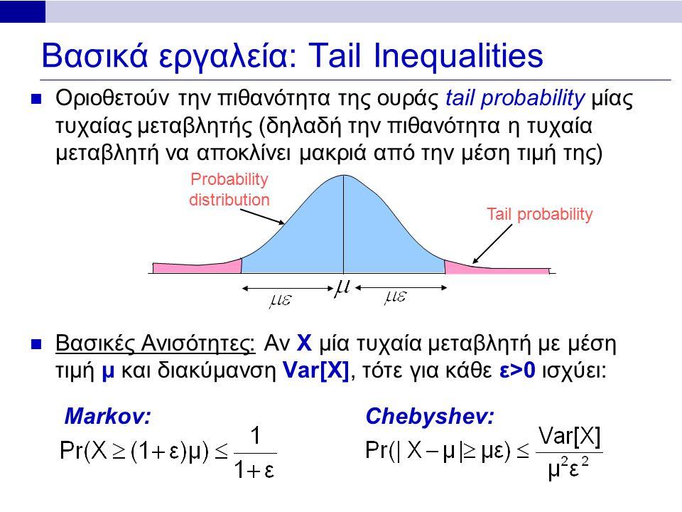 Βασικά εργαλεία: Tail Inequalities Οριοθετούν την πιθανότητα της ουράς tail probability μίας τυχαίας μεταβλητής (δηλαδή την πιθανότητα η τυχαία μεταβλητή να αποκλίνει μακριά από την μέση τιμή της) Βασικές Ανισότητες: Αν X μία τυχαία μεταβλητή με μέση τιμή μ και διακύμανση Var[X], τότε για κάθε ε>0 ισχύει: Probability distribution Tail probability Markov:Chebyshev: