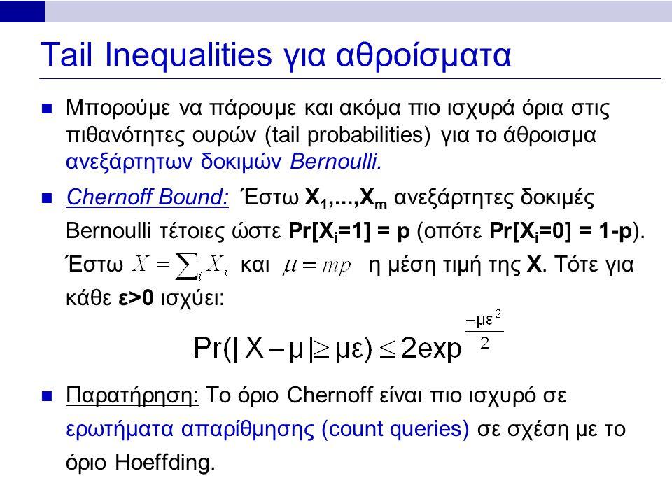 Tail Inequalities για αθροίσματα Μπορούμε να πάρουμε και ακόμα πιο ισχυρά όρια στις πιθανότητες ουρών (tail probabilities) για το άθροισμα ανεξάρτητων δοκιμών Bernoulli.