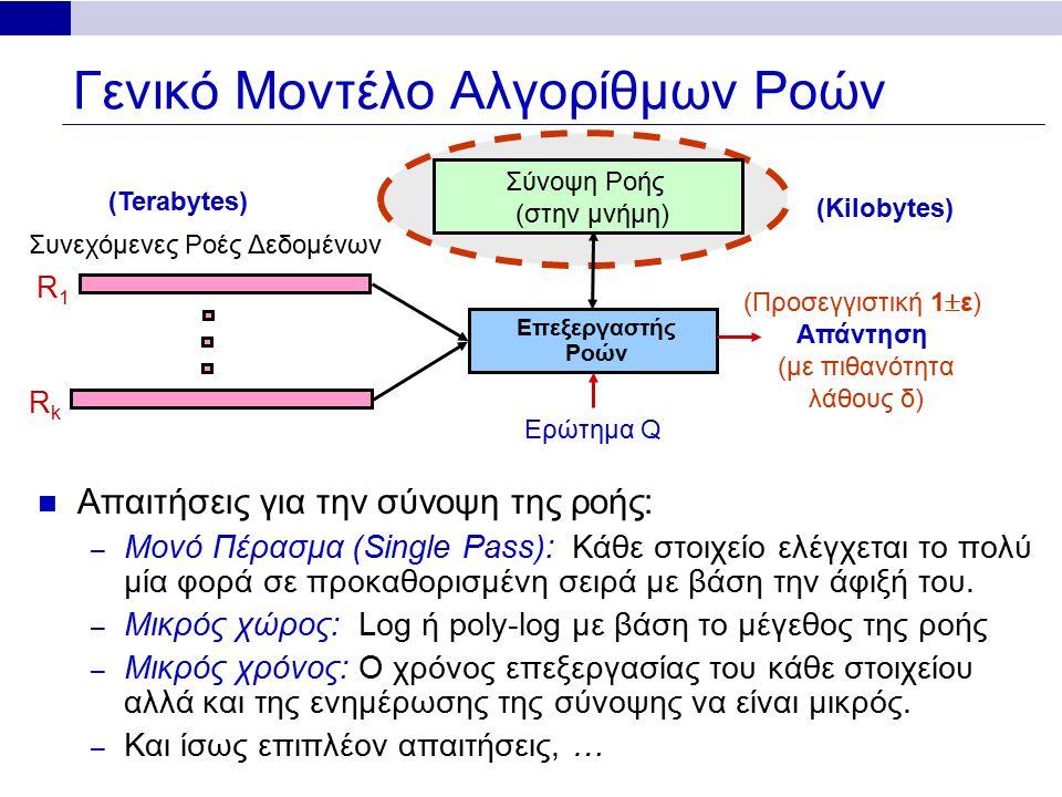 Γενικό Μοντέλο Αλγορίθμων Ροών Απαιτήσεις για την σύνοψη της ροής: – Μονό Πέρασμα (Single Pass): Κάθε στοιχείο ελέγχεται το πολύ μία φορά σε προκαθορισμένη σειρά με βάση την άφιξή του.