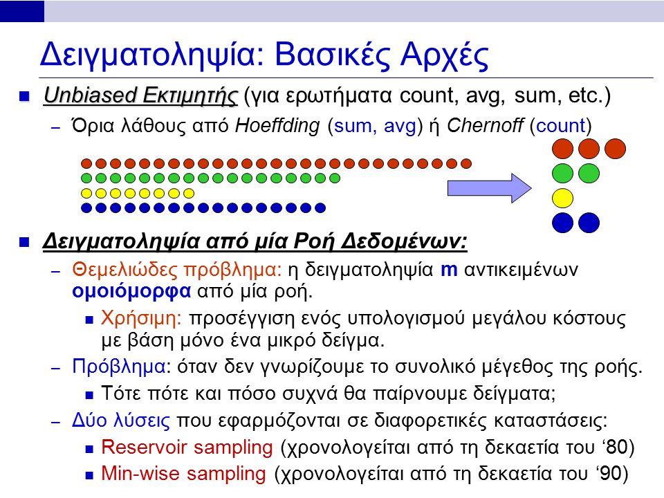 Δειγματοληψία: Βασικές Αρχές Unbiased Εκτιμητής Unbiased Εκτιμητής (για ερωτήματα count, avg, sum, etc.) – Όρια λάθους από Hoeffding (sum, avg) ή Chernoff (count) Δειγματοληψία από μία Ροή Δεδομένων: – Θεμελιώδες πρόβλημα: η δειγματοληψία m αντικειμένων ομοιόμορφα από μία ροή.