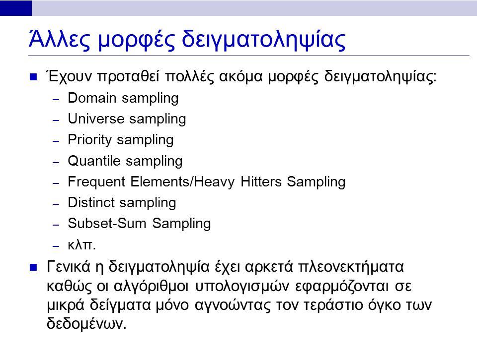 Άλλες μορφές δειγματοληψίας Έχουν προταθεί πολλές ακόμα μορφές δειγματοληψίας: – Domain sampling – Universe sampling – Priority sampling – Quantile sampling – Frequent Elements/Heavy Hitters Sampling – Distinct sampling – Subset-Sum Sampling – κλπ.