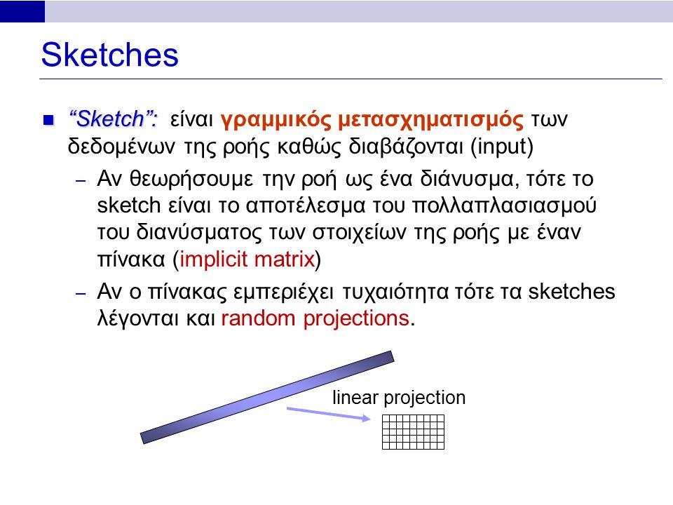 Sketches linear projection Sketch : Sketch : είναι γραμμικός μετασχηματισμός των δεδομένων της ροής καθώς διαβάζονται (input) – Αν θεωρήσουμε την ροή ως ένα διάνυσμα, τότε το sketch είναι το αποτέλεσμα του πολλαπλασιασμού του διανύσματος των στοιχείων της ροής με έναν πίνακα (implicit matrix) – Αν ο πίνακας εμπεριέχει τυχαιότητα τότε τα sketches λέγονται και random projections.