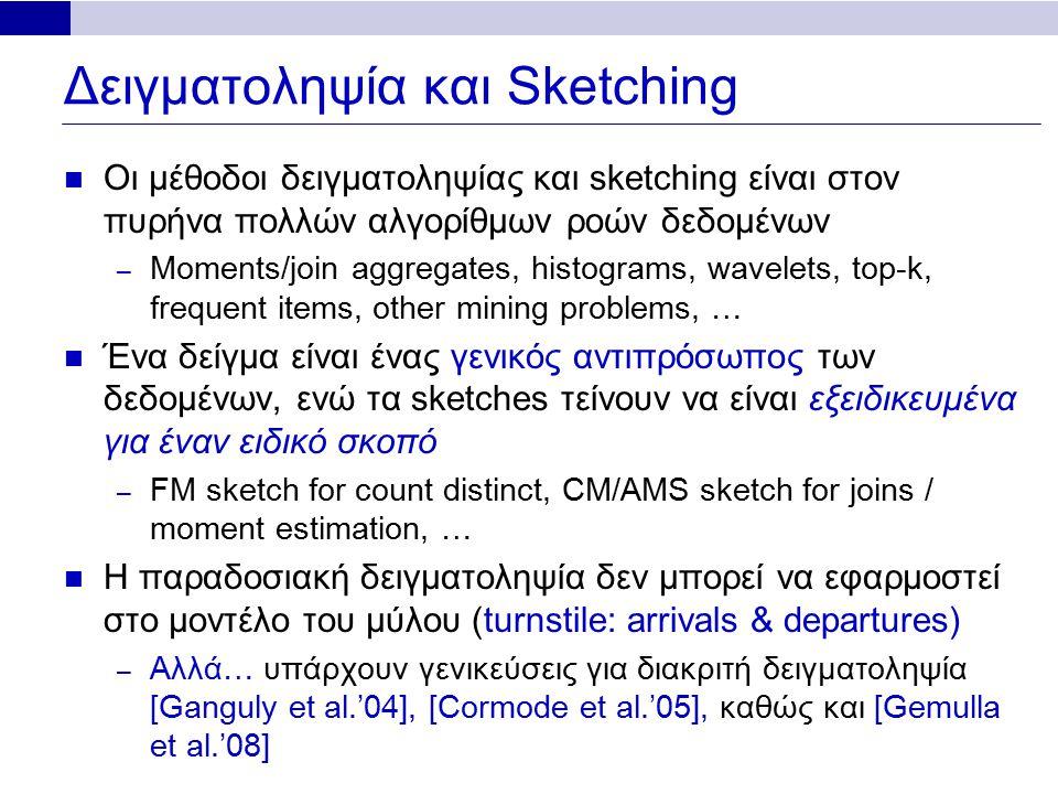 Δειγματοληψία και Sketching Οι μέθοδοι δειγματοληψίας και sketching είναι στον πυρήνα πολλών αλγορίθμων ροών δεδομένων – Moments/join aggregates, histograms, wavelets, top-k, frequent items, other mining problems, … Ένα δείγμα είναι ένας γενικός αντιπρόσωπος των δεδομένων, ενώ τα sketches τείνουν να είναι εξειδικευμένα για έναν ειδικό σκοπό – FM sketch for count distinct, CM/AMS sketch for joins / moment estimation, … Η παραδοσιακή δειγματοληψία δεν μπορεί να εφαρμοστεί στο μοντέλο του μύλου (turnstile: arrivals & departures) – Αλλά… υπάρχουν γενικεύσεις για διακριτή δειγματοληψία [Ganguly et al.'04], [Cormode et al.'05], καθώς και [Gemulla et al.'08]