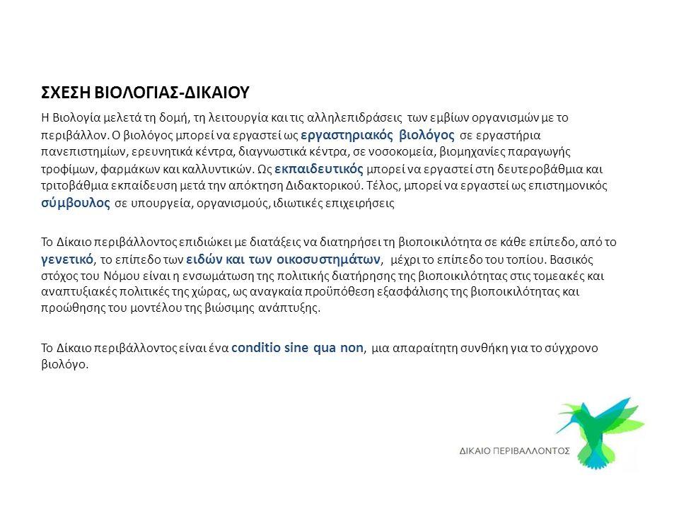 ΣΧΕΣΗ ΒΙΟΛΟΓΙΑΣ-ΔΙΚΑΙΟΥ Η Βιολογία μελετά τη δομή, τη λειτουργία και τις αλληλεπιδράσεις των εμβίων οργανισμών με το περιβάλλον.