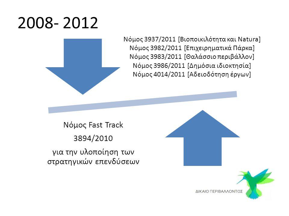 Νόμος 3937/2011 [Βιοποικιλότητα και Natura] Νόμος 3982/2011 [Επιχειρηματικά Πάρκα] Νόμος 3983/2011 [Θαλάσσιο περιβάλλον] Νόμος 3986/2011 [Δημόσια ιδιοκτησία] Νόμος 4014/2011 [Αδειοδότηση έργων] Νόμος Fast Track 3894/2010 για την υλοποίηση των στρατηγικών επενδύσεων