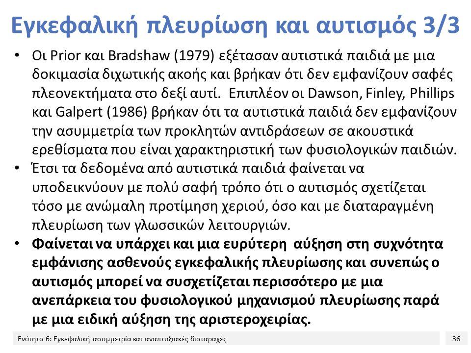 36 Ενότητα 6: Εγκεφαλική ασυμμετρία και αναπτυξιακές διαταραχές Εγκεφαλική πλευρίωση και αυτισμός 3/3 Οι Prior και Bradshaw (1979) εξέτασαν αυτιστικά